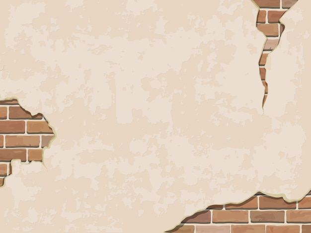 Verweerde muur achtergrond met baksteen.