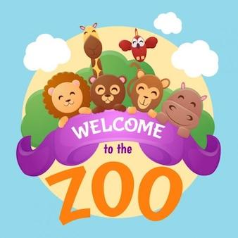 Verwelkom de de dierentuin achtergrond