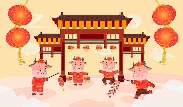 Verwelkom het chinese jaar van de os