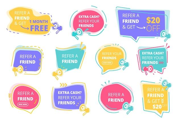 Verwijs banner set. verwijzingsprogramma promotionele stickers gekleurde badges ontwerpsjabloon.