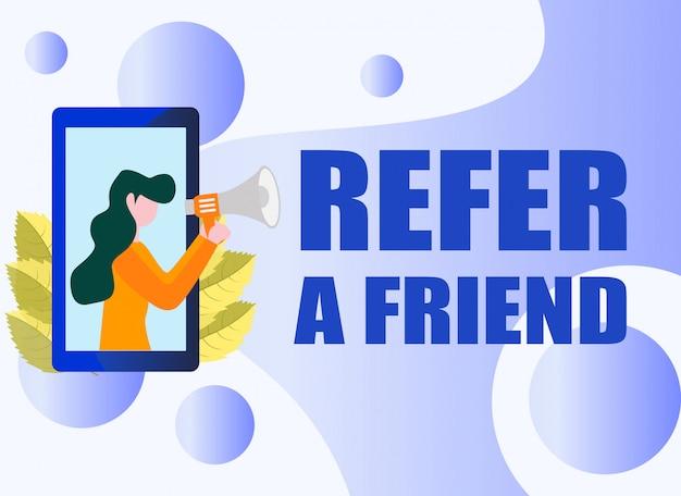 Verwijs een concept van de vrienden vectorillustratie