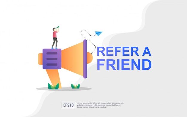Verwijs een concept van een vriendillustratie, megafoon met verwijs een vriendenwoord
