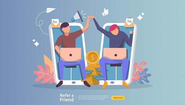 Verwijs een vriend aangesloten partnerschap en verdien geld. marketingstrategie. mensen karakter delen verwijzing bedrijf.