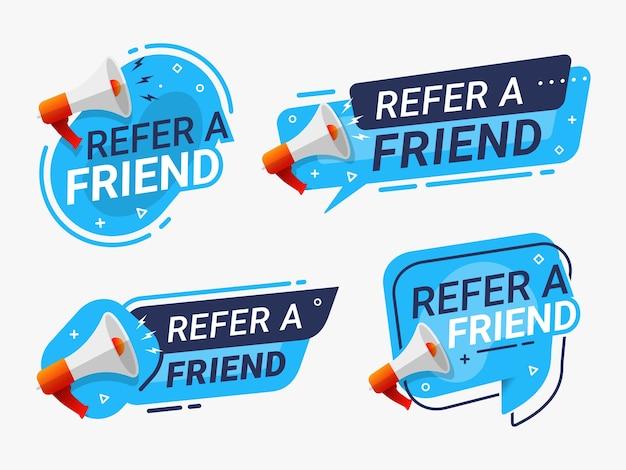 Verwijs een vriend banner label badge set verwijzingsprogramma
