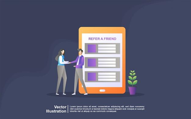 Verwijs een vriend concept. aangesloten partnerschap en geld verdienen. marketingstrategie.