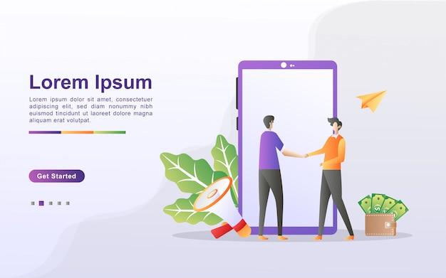 Verwijs een vriend concept. aangesloten partnerschap en verdien geld. marketingstrategie. verwijzingsprogramma en marketing via sociale media. kan gebruiken voor web-bestemmingspagina, banner, mobiele app.