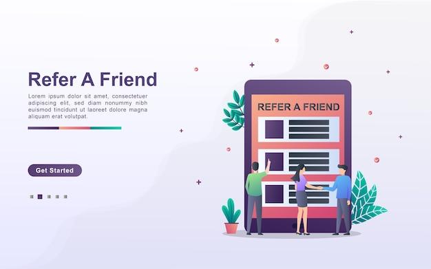 Verwijs een vriend concept. affiliate partnerschap en geld verdienen. marketingstrategie.