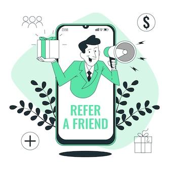 Verwijs een vriend concept illustratie