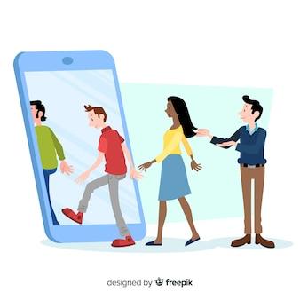 Verwijs een vriend concept met mobiele telefoon