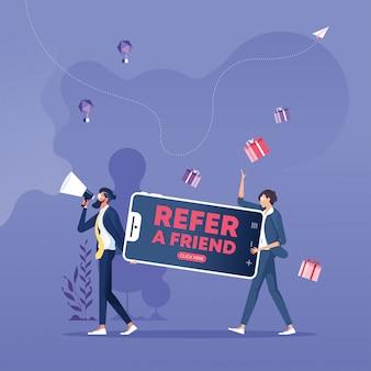 Verwijs een vriend concept. verwijzing programma en social media marketing voor vrienden
