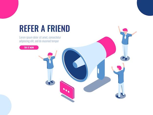Verwijs een vriend isometrisch pictogram, mensen team in promotie, reclame, teamwork en collectief werk