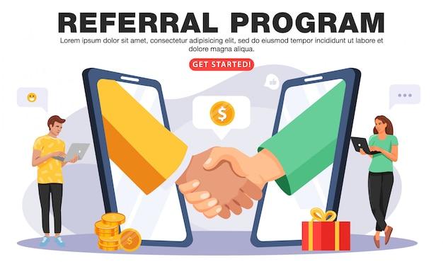 Verwijs een vriend of referral marketing concept.