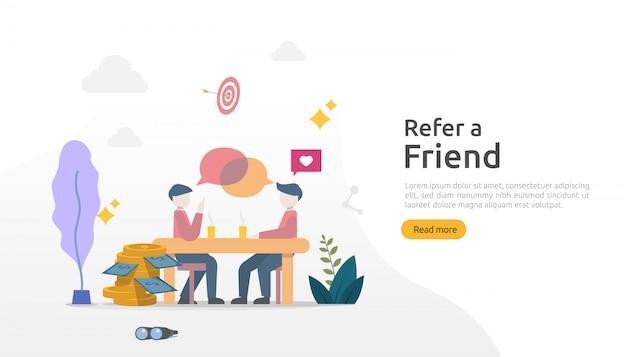 Verwijs een vriend strategie en affiliate marketing concept. mensen karakter delen verwijzing zakelijke samenwerking en verdien geld. sjabloon voor web-bestemmingspagina, banner, poster, gedrukte media