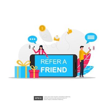 Verwijs een vriendenconcept om beloningen vectorillustratie te krijgen.
