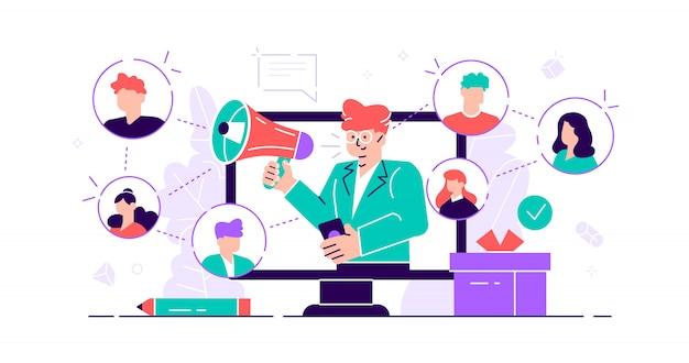Verwijzingsconcept. marketingcommunicatiediensten voor consumentenpubliek voor influencer-advertenties. producten promotie personen. mond-tot-mondreclame voor nieuwe klanten. plat kleine illustratie