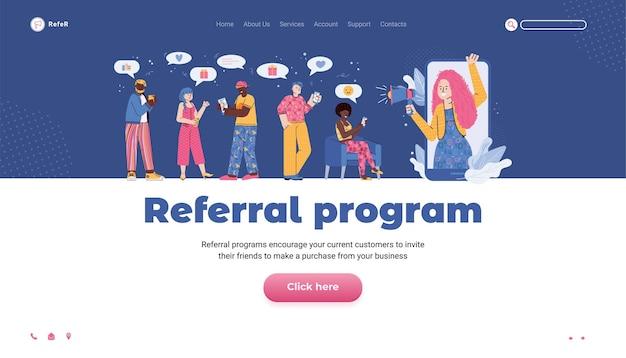 Verwijzingsprogramma website banner met cartoon mensen platte vectorillustratie
