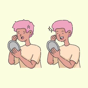 Verwilderd en bloeiende kijken in de spiegel cartoon afbeelding