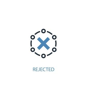 Verworpen concept 2 gekleurd icoon. eenvoudige blauwe elementenillustratie. afgewezen symbool conceptontwerp. kan worden gebruikt voor web- en mobiele ui/ux