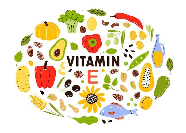 Verzamel bronnen van vitamine e fruit en groenten en noten. cartoon platte illustratie geïsoleerd op wit