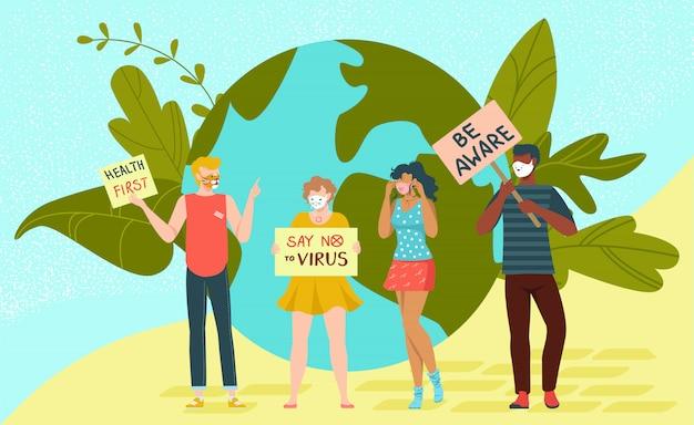 Verzamel protestmensen, zeg geen virus en gezondheid eerst bannerillustratie. karakter mannelijke vrouw staan aarde planeet.