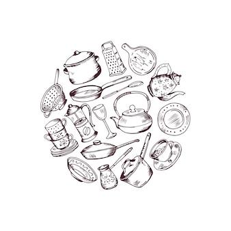 Verzameld hand getrokken keukengerei in cirkelillustratie die op wit wordt geïsoleerd