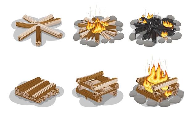 Verzamelde brandhoutcollectie voor het maken van vreugdevuur