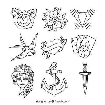 Verzameling assortiment hand getekende tatoeages