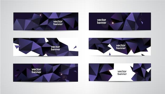 Verzameling banners met veelhoekige geometrisch