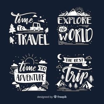 Verzameling belettering reisbadges