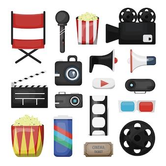 Verzameling bioscoopelementen en regisseursapparatuur op de witte achtergrond. concept van filmindustrie en filmen.