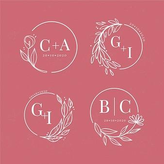 Verzameling bloemen bruiloft logo's