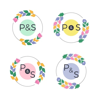 Verzameling bloemen bruiloft monogrammen