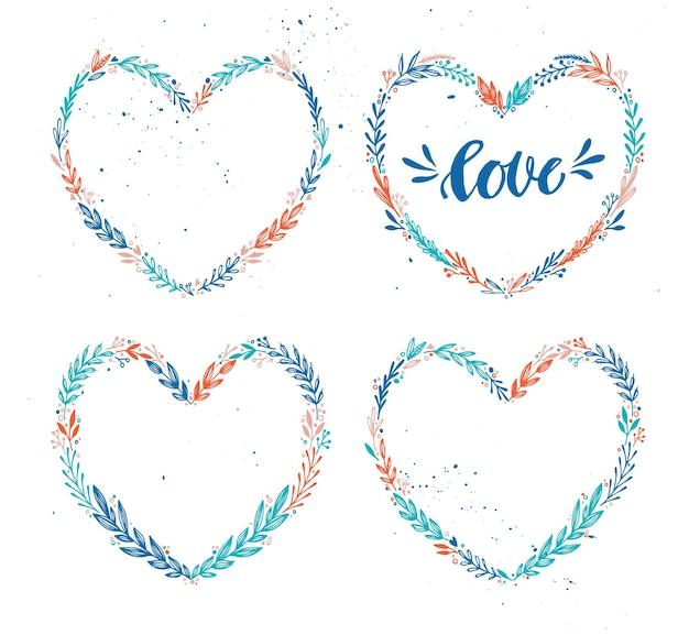 Verzameling bloemenharten krans. fijne valentijnsdag