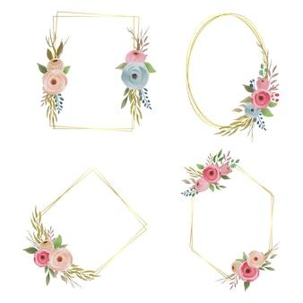 Verzameling bruiloft frames met aquarel bloemen en gouden randen