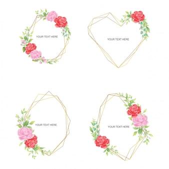 Verzameling bruiloft uitnodiging frames met groene blad roos decoraties en gouden lijnen