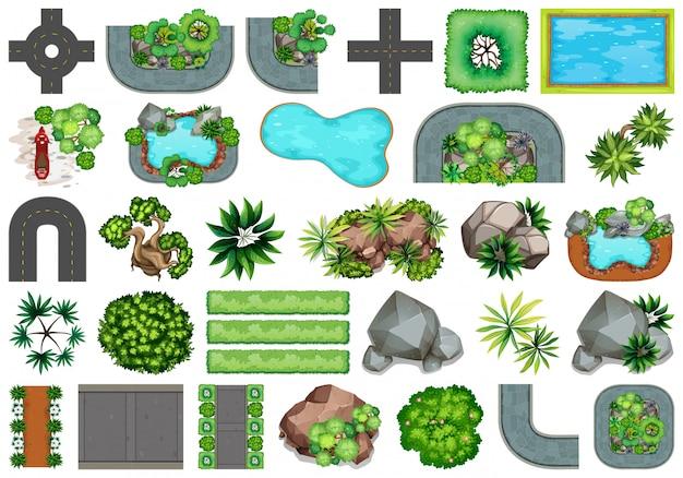 Verzameling buitenobjecten met natuurthema en plantelementen