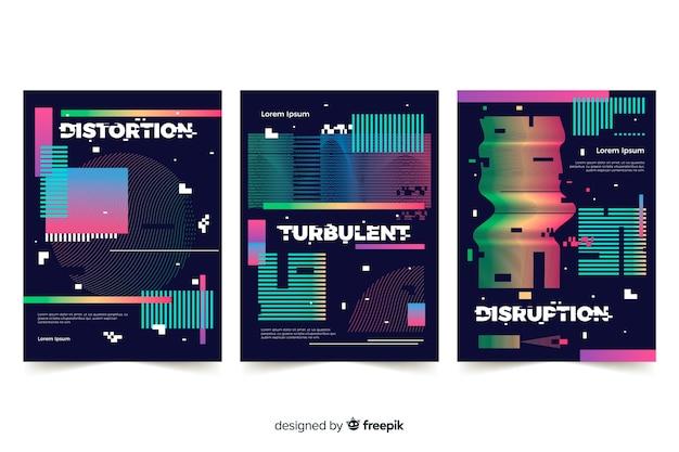 Verzameling covers met kleurrijk glitch effect