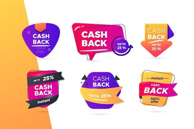 Verzameling creatieve cashback-labels