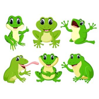 Verzameling cute kikker cartoon