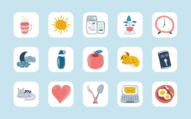 Verzameling dagelijkse stickers cartoon ontwerp