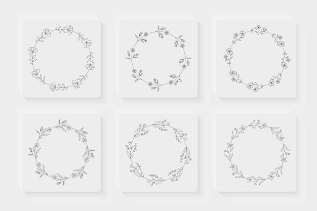 Verzameling decoratieve omlijnde bloemenkransen