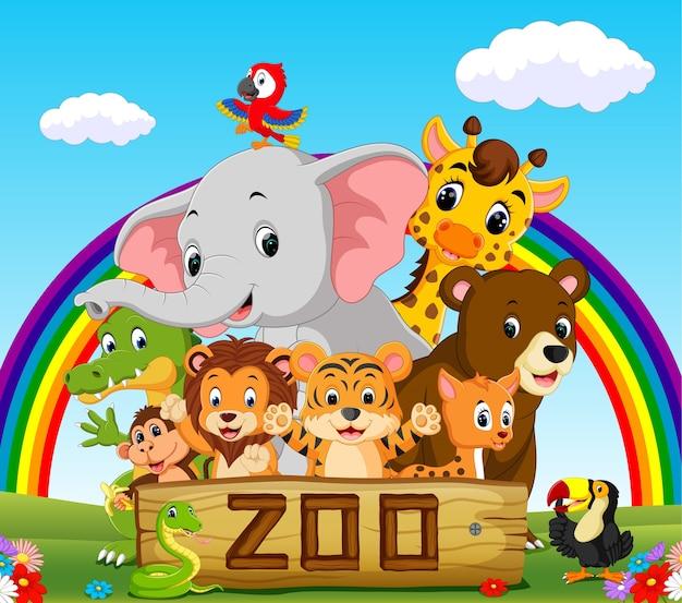 Verzameling dierentuindieren met gids