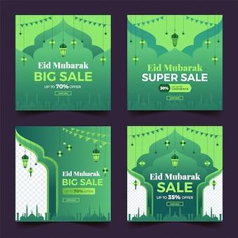 Verzameling eid super verkoop sociale media post-sjabloon banners advertentie.