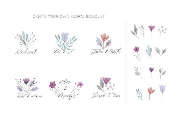 Verzameling elegante bloemenboeketten