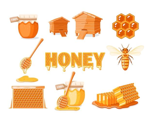 Verzameling elementen van het honingconcept geïsoleerd