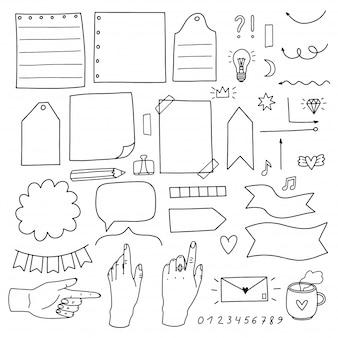 Verzameling elementen voor bullet journal. verzameling van doodles voor de dagelijkse planner, wekelijkse planner. een zwarte lijn op een witte achtergrond.