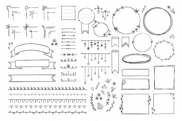 Verzameling elementen voor bullet journals
