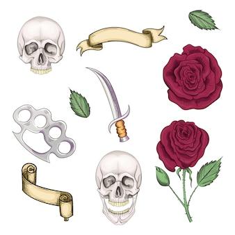 Verzameling elementen voor tatoeages in de stijl van de oude school