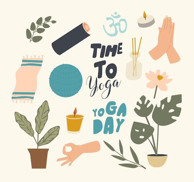 Verzameling elementen yoga thema. fitball, mat en pot monstera plant, brandende kaars en aroma diffuser met stokken