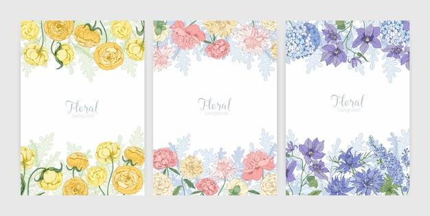 Verzameling florale achtergronden of kaartsjablonen met frames gemaakt van prachtige bloeiende wilde bloemen en bloeiende kruiden en plaats voor tekst. elegante realistische botanische illustratie.